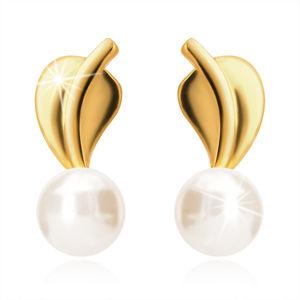 Złote kolczyki wkrętki 375 - listek z łodygą, perła białego koloru