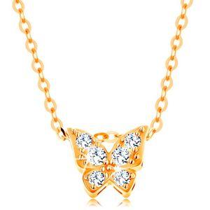 Złoty 14K naszyjnik - lśniący łańcuszek, motyl ozdobiony przezroczystymi cyrkoniami