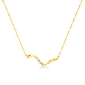 Złoty 14K naszyjnik - nieregularna falista linia, przezroczyste cyrkonie