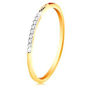 Złoty 14K pierścionek - cienkie błyszczące ramiona, lśniąca bezbarwna cyrkoniowa linia - Rozmiar : 49