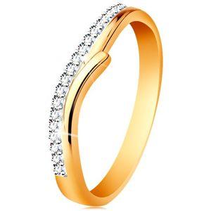 Złoty 585 pierścionek z rozdzielonymi dwukolorowymi ramionami, bezbarwne cyrkonie - Rozmiar : 52