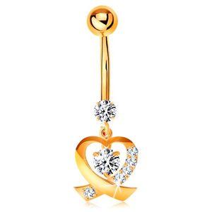Złoty 9K piercing do pępka - błyszczący kontur serduszka, okrągłe bezbarwne cyrkonie