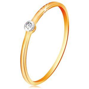 Złoty dwukolorowy pierścionek 585 - bezbarwny cyrkon w okrągłej oprawie, cienkie ramiona - Rozmiar : 50