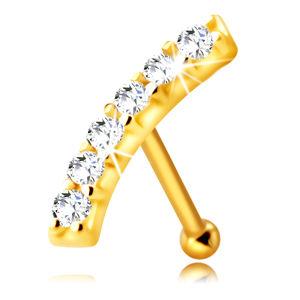 Złoty kolczyk do nosa 585 - lekko zaokrąglony pasek z przezroczystymi cyrkoniami