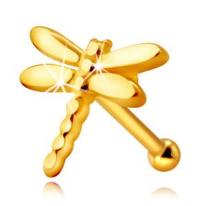 Złoty kolczyk do nosa 585 - ważka z lśniącymi długimi skrzydłami