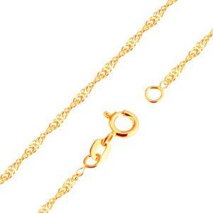 Złoty łańcuszek 375 - spirala z lśniących płaskich owalnych ogniw, 500 mm