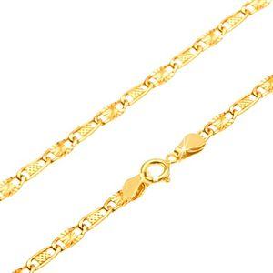 Złoty łańcuszek 585 - kratkowane i promieniste ogniwo, 500 mm