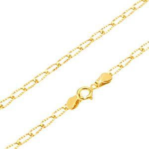 Złoty łańcuszek 585 - lśniące podłużne ogniwa z rowkami, 500 mm