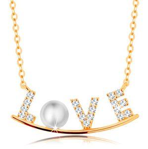 Złoty naszyjnik 585 - cyrkoniowy napis LOVE na lśniącym łuku, biała perła