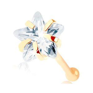 Złoty piercing do nosa 585 - prosty, przezroczysta cyrkoniowa gwiazdeczka