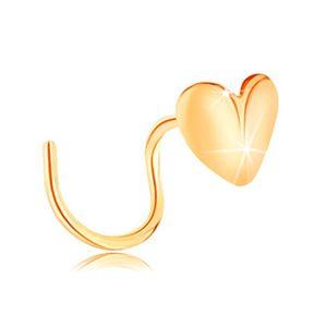 Złoty piercing do nosa 585, zagięty - lśniące serduszko, wygięte w środku
