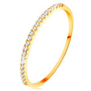 Złoty pierścionek 585 - cienkie lśniące ramiona, błyszcząca cyrkoniowa linia bezbarwnego koloru - Rozmiar : 52