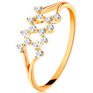 Złoty pierścionek 585 - rozdzielone zagięte ramiona, zygzak z cyrkonii - Rozmiar : 49