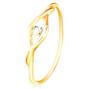 Złoty pierścionek 585 - bezbarwna okrągła cyrkonia pomiędzy cienkimi falami - Rozmiar : 63