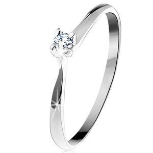 Złoty pierścionek 585 - błyszczący przezroczysty diament w czteroramiennym koszyczku, białe złoto - Rozmiar : 56