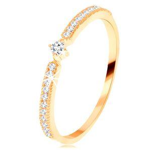 Złoty pierścionek 585 - okrągła przezroczysta cyrkonia, cienkie cyrkoniowe linie po bokach  - Rozmiar : 56