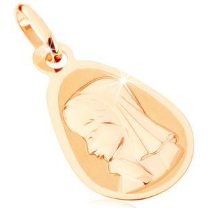 Złoty wisiorek 375 - matowy płaski medalik, zaokrąglona kropla, Maryja Panna
